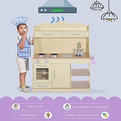 HOMCOM Kinderküche Spielzeugküche Kinderspielküche aus Holz - 4
