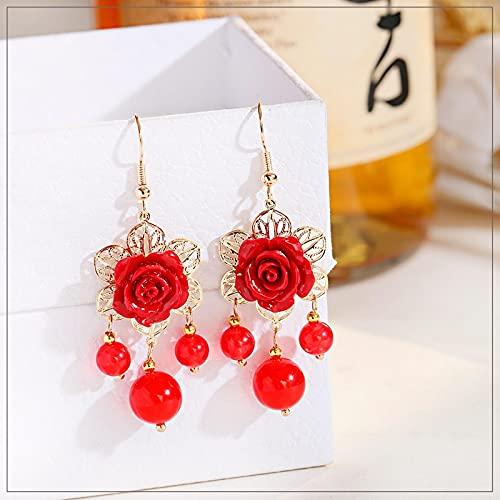 FEARRIN Pendientes Largos Pendientes Rosados para Mujer Verano Elegante Flor Vintage Colgante Largo Elegante Accesorios de Regalo Style1