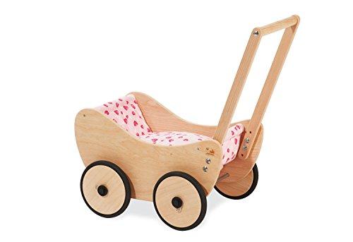 Pinolino poppenwagen Trixi, van hout, incl. beddengoed en remsysteem, loophulp met rubberen houten wielen, voor kinderen van 1 tot 6 jaar, naturel