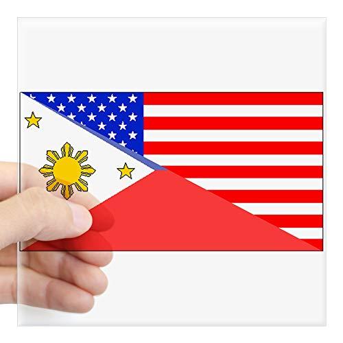 CafePress Filipino American Flag Sticker Square Bumper Sticker Car Decal, 3'x3' (Small) or 5'x5' (Large)
