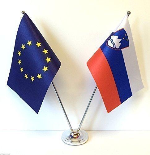 Unión europea UE y Eslovenia Diseño de banderas de países cromo y de escritorio juego de banderines