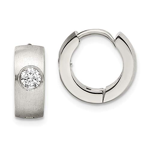 Roy Rose Jewelry CHISEL Stainless Steel Brushed & Polished CZ Hinged Hoop Earrings