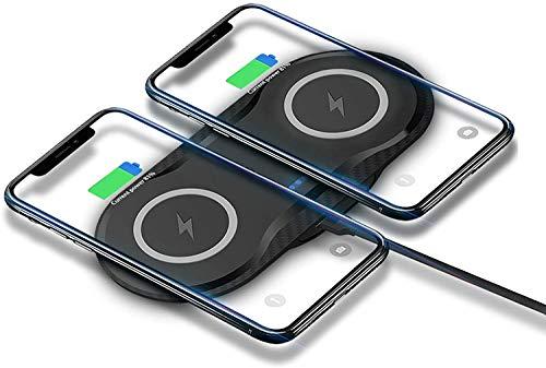 ZHICHUAN Cargador Inalámbrico Dual de 10W, Carga Inalámbrica de Carga Qi-Certificada por la Estación de Carga Inalámbrica Rápida para Iphone 12/11/11 Pro Max Samsung S20 + / S20, Ne