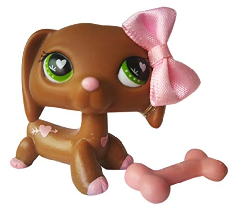 LPSOLD LPS Dachshund 556 Heart Brown Green Eyes Dog Puppy with Accessories Action Cartoon Figure Collection Boy Girl Kid Gift