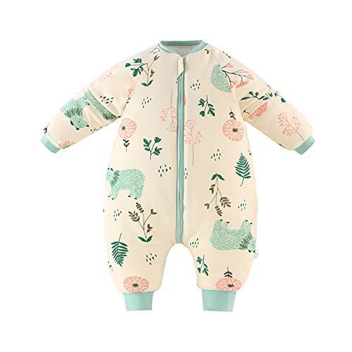 Baby Schlafsack Strampler Overall Jungen Mädchen Baumwolle Abnehmbare Ärmel Reißverschluss Beine Warmer Schlafanzug mit Füßen Kinder 3-5 Jahre,Gelb(3.5Tog)