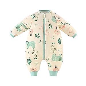 Bebé Saco de Dormir para Niños Niñas Manga Separable con Piernas Algodón Pijama Cremallera Mamelucos Mono Invierno Traje de dormir 3-5 años,amarillo(3.5Tog)