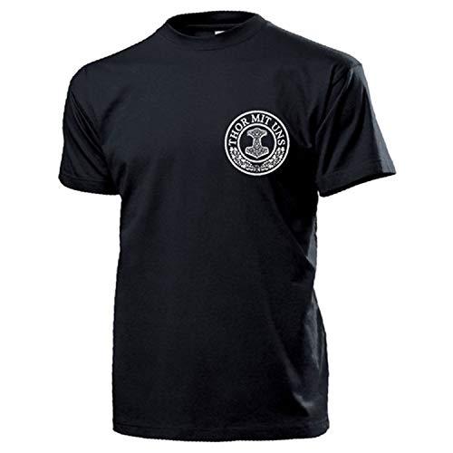 Thor mit Uns Donner Gott Thors Hammer German Germane Wikinger T Shirt #16926, Größe:L, Farbe:Schwarz