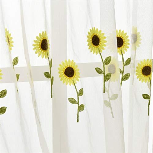 Pastoral Sunflower Transparenter Tüll Vorhänge Für Wohnzimmer Schlafzimmer Moderne Wohnkultur Voile Küche Balkon Zimmer Blumen Fenster-Vorhänge Screening Vorhang,Yarn,Customized per Meter