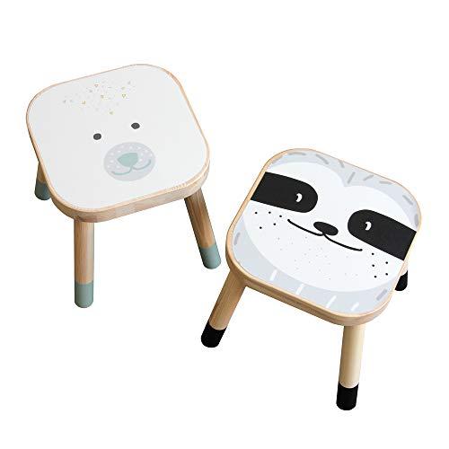 Limmaland Tier-Aufkleber passend für Deine IKEA FLISAT Kinderhocker (Faultier/Bär) - Hocker Nicht inklusive