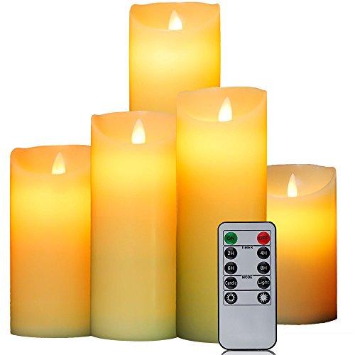 Oxoxo 5 pcs/lot 7,6 cm sans flamme Bougies pilier en cire à côté Sway vagues Bougies LED à Piles et vestiaires télécommande avec minuteur 24 heures, 12.5+15+18+20+22cm+Remote control