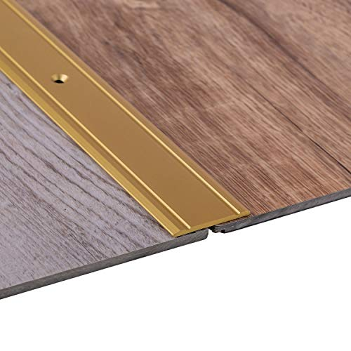 Gedotec Alu Übergangsprofil flach Bodenprofil Tür Übergangsschiene Laminat - Parkett - Vinyl UVM. | Breite 37 mm | Türschwelle gelocht | Aluminium Messing eloxiert | 1 Stück - Ausgleichsprofil 100 cm
