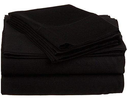 High Class 100% coton égyptien 1000 fils Lit Feuilles Lot de 4 pièces 76,2 cm pouces Poche profonde toutes les tailles et couleurs, Coton, noir, Entier