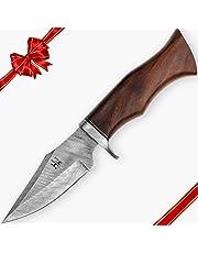 Hobby Hut HH-342 Cuchillo de Hoja Fija, Cuchillo de Caza de Acero de Damasco de 25,4 cm con Funda, Cuchillo de Hoja Fija, Mango de Madera de Nogal diseñado para Cazar y Acampar, Cuchillo Bushcraft