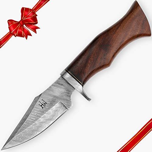 Hobby Hut HH-342, 25,4 cm Damaststahl-Jagdmesser mit Scheide, Messer mit Fester Klinge, scharfes Messer, Griff aus Walnussholz für Jagd und Camping