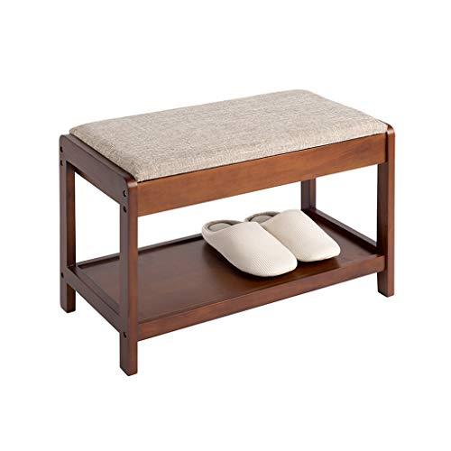 ZZYE Zapatero Banco de zapatos de madera Almacenamiento marrón Pasillo de pasillo Estante de zapatos con asiento extraíble Cojín Ligero Zapato de zapatos Taburete de almacenamiento - 60x30x42cm Perche