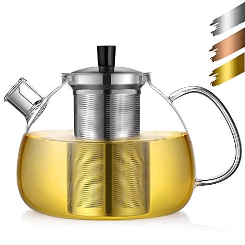 ecooe Teiera di Vetro tè 1500 ml con Vetro Filtro in Acciaio Inox Riscaldamento brocca sulla Stufa