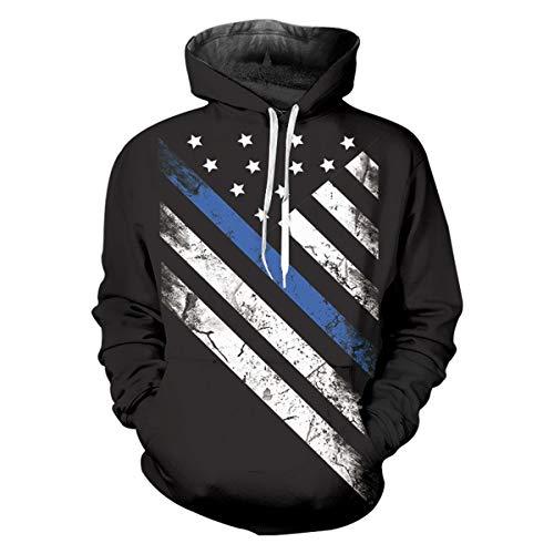 pinata Thin Blue line Unisex 3D Pattern Cool Drawstring Hoodie Sweatshirts Pockets