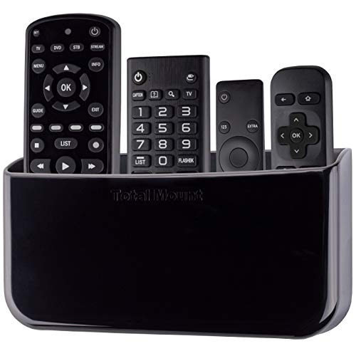 TotalMount Hole-Free Remote Holder - Eliminates Need to Drill Holes in Your Wall (for 3 or 4 Remotes - Black - Quantity 1)