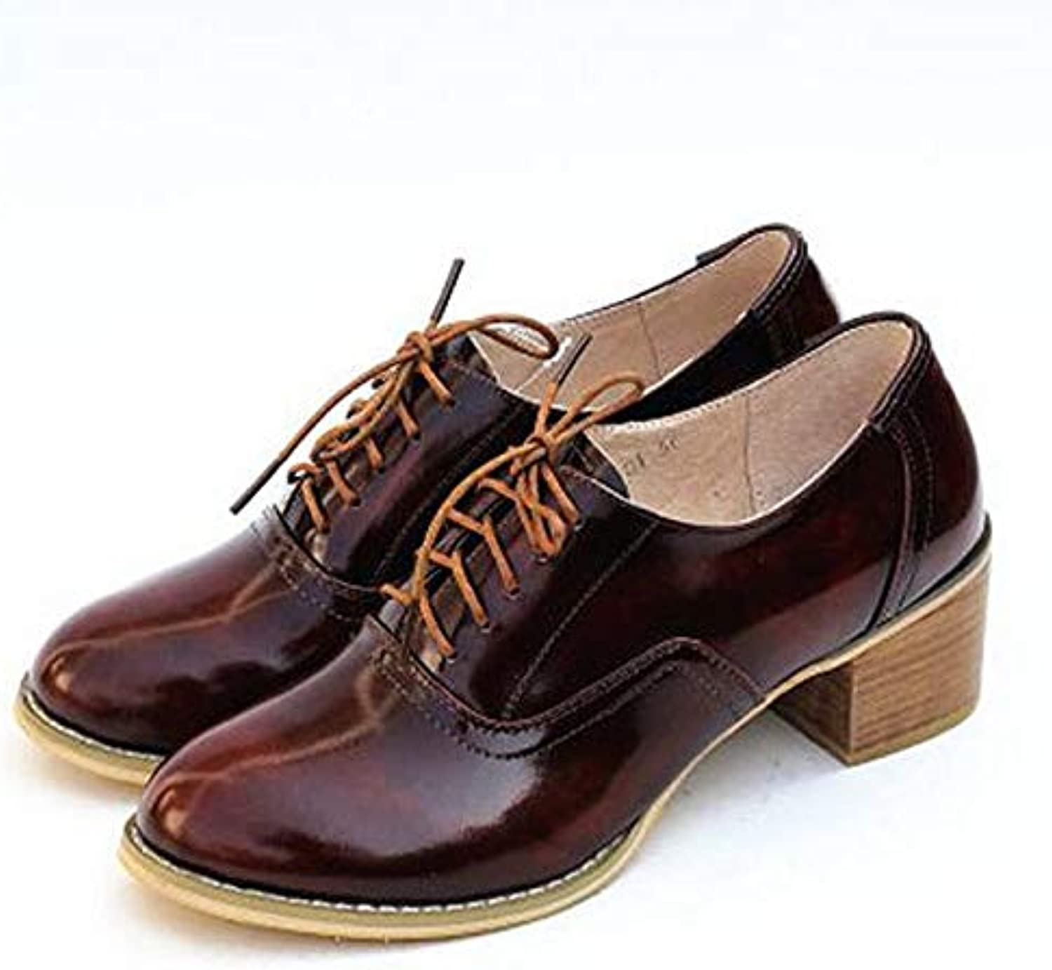 Fay Waters Women's Patent Leather Perforated Lace-up Oxfords Brogue Wingtip Mid Heel Saddle shoes for Ladies