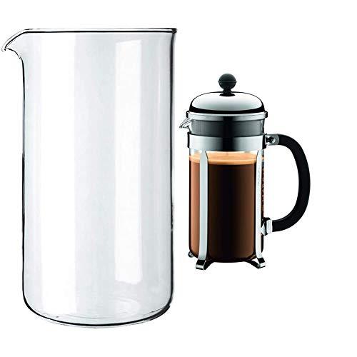 BODUM Chambord 8 Cup French Press Coffee Maker, Chrome, 1.0 l, 34 oz & 1508-10 French Press Replacement 8 Cup Glass Beaker, Transparent , 1 L, ø 9.6 cm