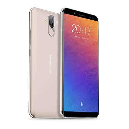 Ulefone Power 3 Smartphone ohne Verstrag (6 Zoll FHD+ Display, 6GB RAM + 64GB, Vierfache Kameras, Android 7.1, Face ID & Finger ID, 3A Quick Charge, Dual SIM) Gold