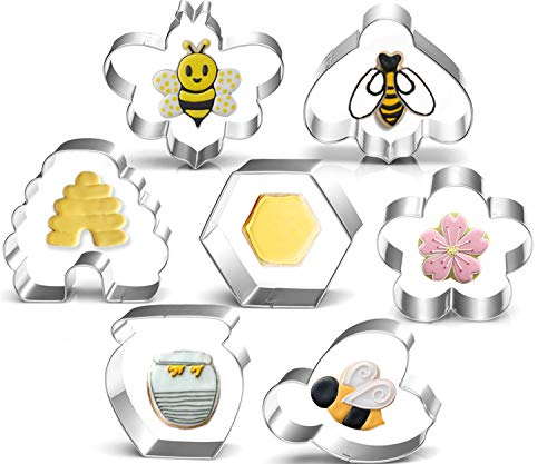 Bee Cookie Cutters Set-3 Inches-7 Piece-Bee, Beehive, Flower, Honeycomb and Honey Jar Stainless Steel Cookie Biscuit Cookie Cutters Molds for Honey Bee Party Decoration Favor