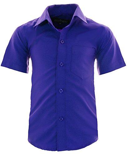 GILLSONZ A0 vDa New Kinder Party Hemd Freizeit Hemd bügelleicht Kurz ARM mit 9 Farben Gr.86-158 (92-98, Blau)