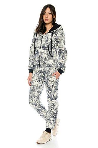 Crazy Age Damen Jumpsuit Overall Hausanzug Freizeitanzug Jogginganzug Einteiler Sportanzug CA 2830 (Navy, M) - 2