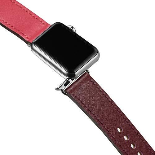 YMYGCC Correa Reloj Correa de Bucle de Cuero Genuino para Banda de Reloj 42mm 44mm 38mm 40mm Reloj de Reloj para Ver 6 5 4 3 2 1 44 mm 42 mm 711 (Band Color : Rose Red 1, Band Width : 42mm)