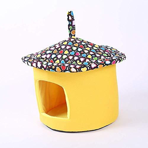 KLMNV; KLBVB Pet Supplies Pet Bed polyester doek + hoge dichtheid spons rond canvas hoed kat creatieve slaapplek geel kleur