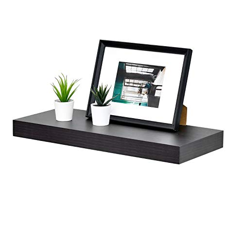 """WELLAND 2"""" Thickness Mission Floating Wall Shelf,approx 24-inch Length, Espresso"""