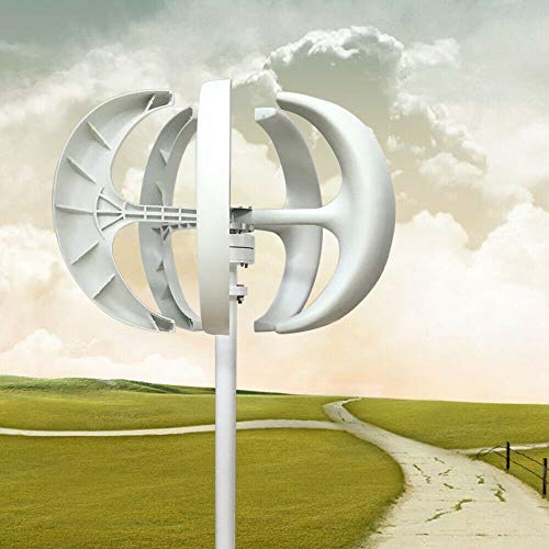 24 V Windkraftanlage Windanlage Yunrux Windräder Lantern Wind Turbine mit Controller Windturbine Generator Vertikale Windgenerator Kit 5 Blätter Windturbinengenerator weiß 600 W