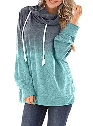 Women Active Running Hoodies Ombre Drawstring Teen Girls Lightweight Activewear Tops, Lack Blue XL