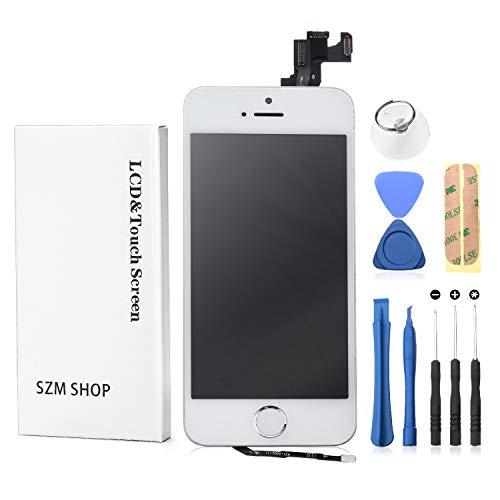 SZM iPhone5S フロントパネル カスタムパーツ 液晶パネル LED スクリーン 修理パーツ 工具付属(スピーカー +フロントカメラ+ホームボタン付き)白
