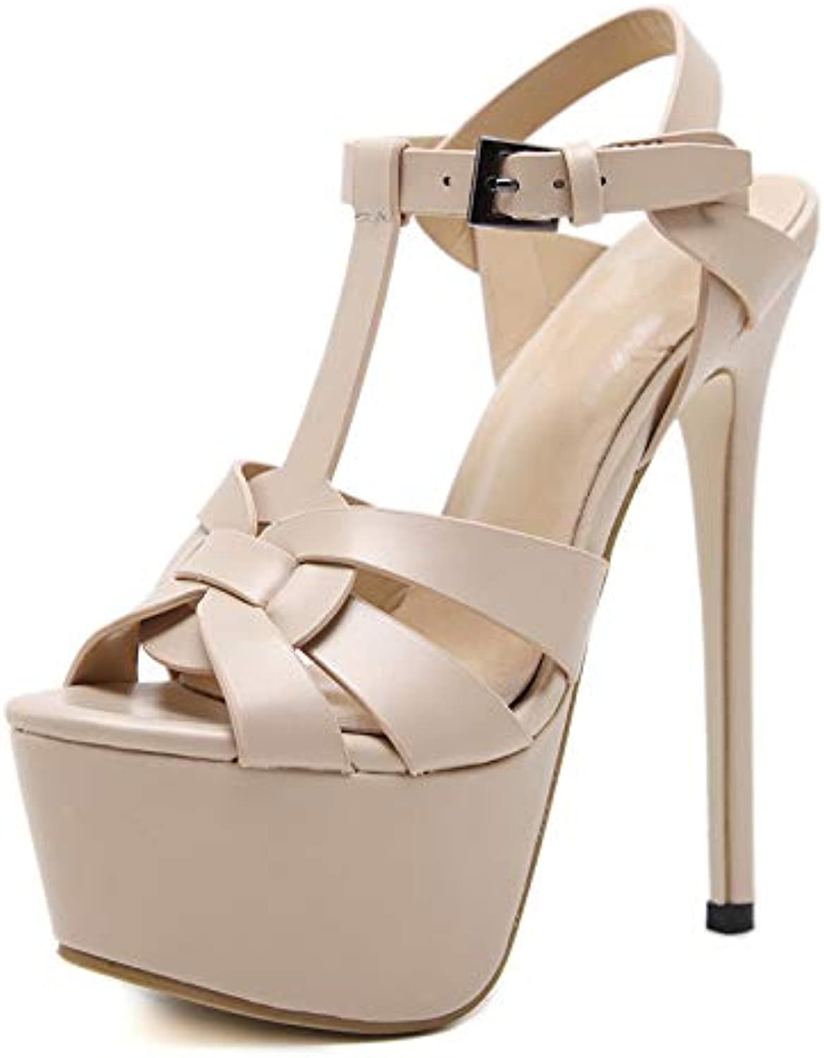 Duduxiaomaibu Women's Cut Out Ankle Strap High Heel - Open Toe Sandal Pump - Chunky Heel Platform shoes