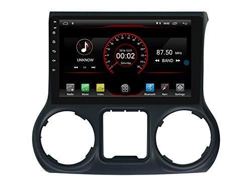 BWHTY Android 10 Car DVD Player GPS Stereo Head Unit Navi Radio Multimedia WiFi para Jeep Wrangler 2011 2012 2013 2014 Control del Volante
