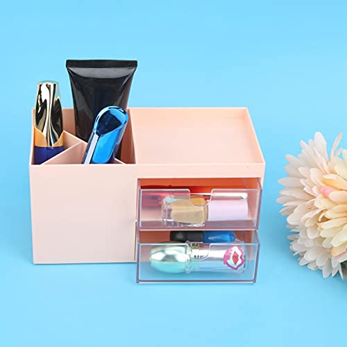 Contenedor de almacenamiento de escritorio de gran capacidad, contenedor de maquillaje, cajón, caja de maquillaje para oficina, escritorio, sala de estar, escritorio (polvo de cerezo)