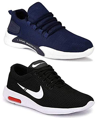 WORLD WEAR FOOTWEAR Men's Multi- Coloured Running Shoes - 9 UK (Set of 2 Pairs)