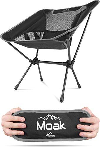 Campingstuhl Ultraleicht und Kompakt - Klappbarer Outdoorstuhl mit 796g! Faltbarer Strandstuhl Anglerstuhl Festivalstuhl Wanderstuhl Farbe Grau