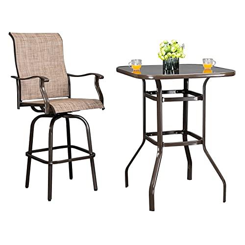 CHENGSYSTE Patio-Möbel-Sets Terrasse High Bar Tischstuhl Set Schmiedeeisen gl-as Tuch br-aun Enthält 1 Tisch 2 Stühle Gartenmöbel (Color : 1 Table and 2 Chairs)