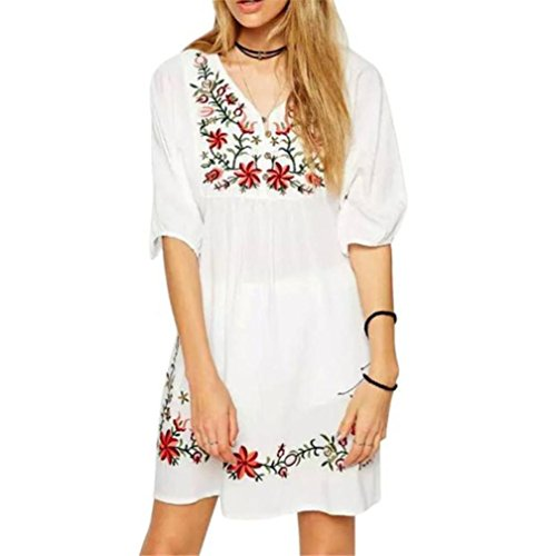 SHOBDW Vestido de Mujer Blusa Hippie Pessant de etnia Mexicana Bordada Gitana Mini Vestido (Blanco, XL)