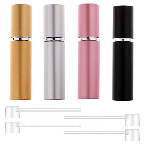 4個セット 香水アトマイザー 詰め替え (4個詰め替えノズル付き)ポータブル 香水ボトル 香水噴霧器 小分けボトル トラベルボトル 通勤 旅行携帯用 男女兼用 5ml