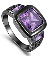 Men's Black Ring Rhodium Plated With Gemstone Amethyst Purple (S-Z Solitaire) Size US 10