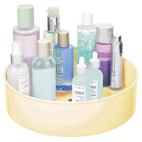 mDesign Organizador de Maquillaje con Base giratoria – Cestas organizadoras para Guardar Productos de Belleza – Bandeja Rotatoria para ordenar cosméticos en el baño o el tocador – Amarillo Claro