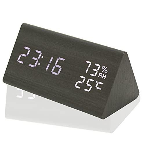 「365日保証」デジタル時計 目覚まし時計 置き時計 卓上時計 多機能10項目 日付 温度 湿度 USB充電 大音量アラーム複数クロック LED明るさ調整可 省エネ音声感知 おしゃれ インテリア 木製 木目 北欧 ナチュラル風 寝室台 卓上台上置き型 Co