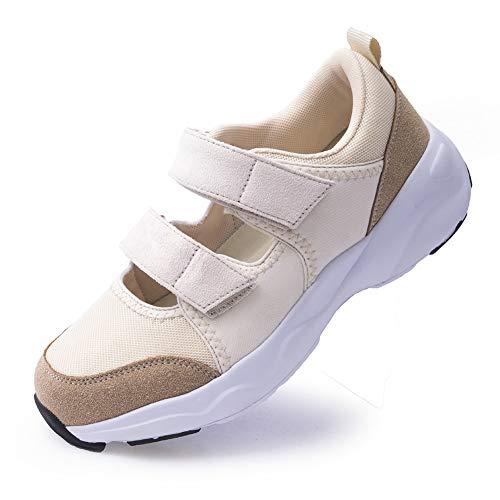 Womens Trainer Atmungsaktive Krankenschwester Arbeitsschuhe Rutschfeste verstellbare Komfortable Gehen Laufen Lässige Pflege Orthesen Leichte Schuhe Arthritis, Diabetes, Plantarfasziitis, White 35