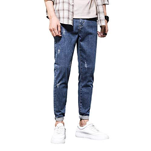 Pantalones Vaqueros para Hombre, Verano, Delgado, Simple, de Moda, Delgado, Casual, Pantalones de Mezclilla, Pantalones Vaqueros elásticos Americanos 32