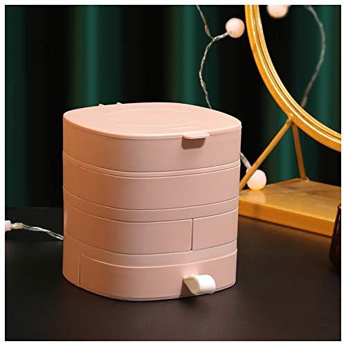 Subsky Jewellery Organizer Box Custodia per gioielli con 4 strati rotanti per gioielli Organizer Holder per collana, bracciale anello, orecchini, gemelli e miglior regalo per signora (PINK)