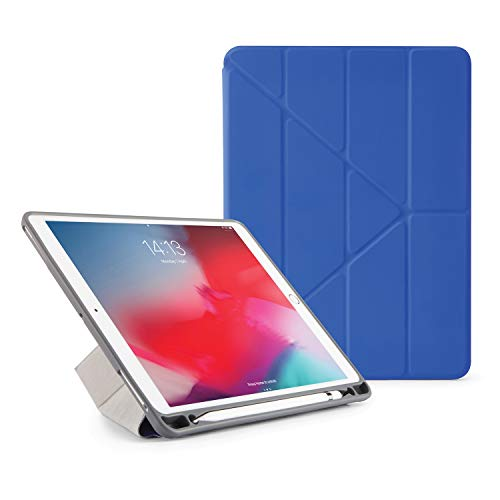 Pipetto Origami Pencil iPad Case Air 10.5 Inch (2019) & Pro 10.5 Inch (2017) | Shockproof TPU | 5 in 1 Stand Positions | Apple Pencil 2 Storage Sync and Charge - Royal Blue
