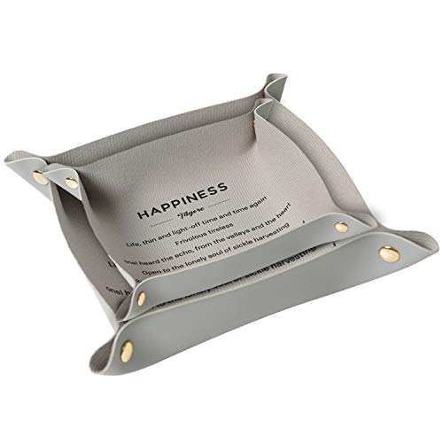 CHAMER Valet Trays Leather for Men and Women-Leather Jewelry Trays Personalized Desk Organizer for Jewlery Key Cosmetics Glasses Headphone Wallet-Office/Home Use(Gray)